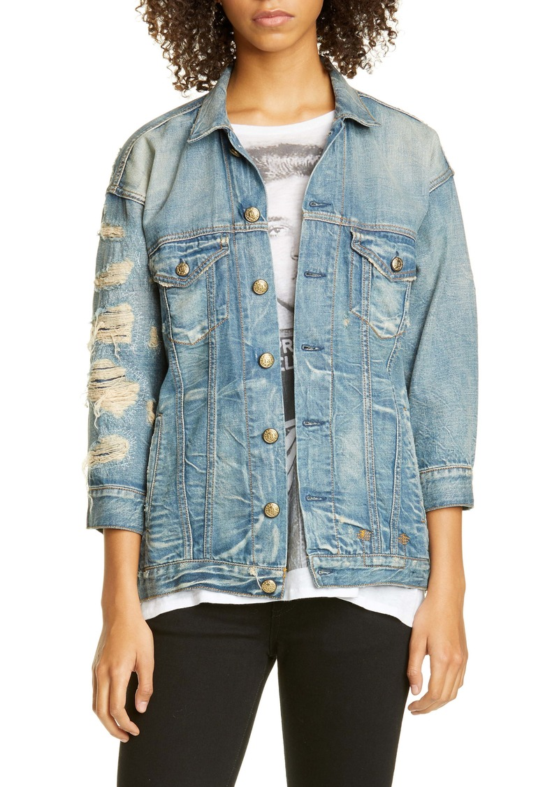 R13 Destroyed Oversize Denim Trucker Jacket