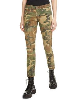 R13 Distressed Camo Print Boy Skinny Jeans