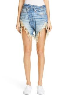 R13 Distressed Crossover Denim Shorts (Emory)