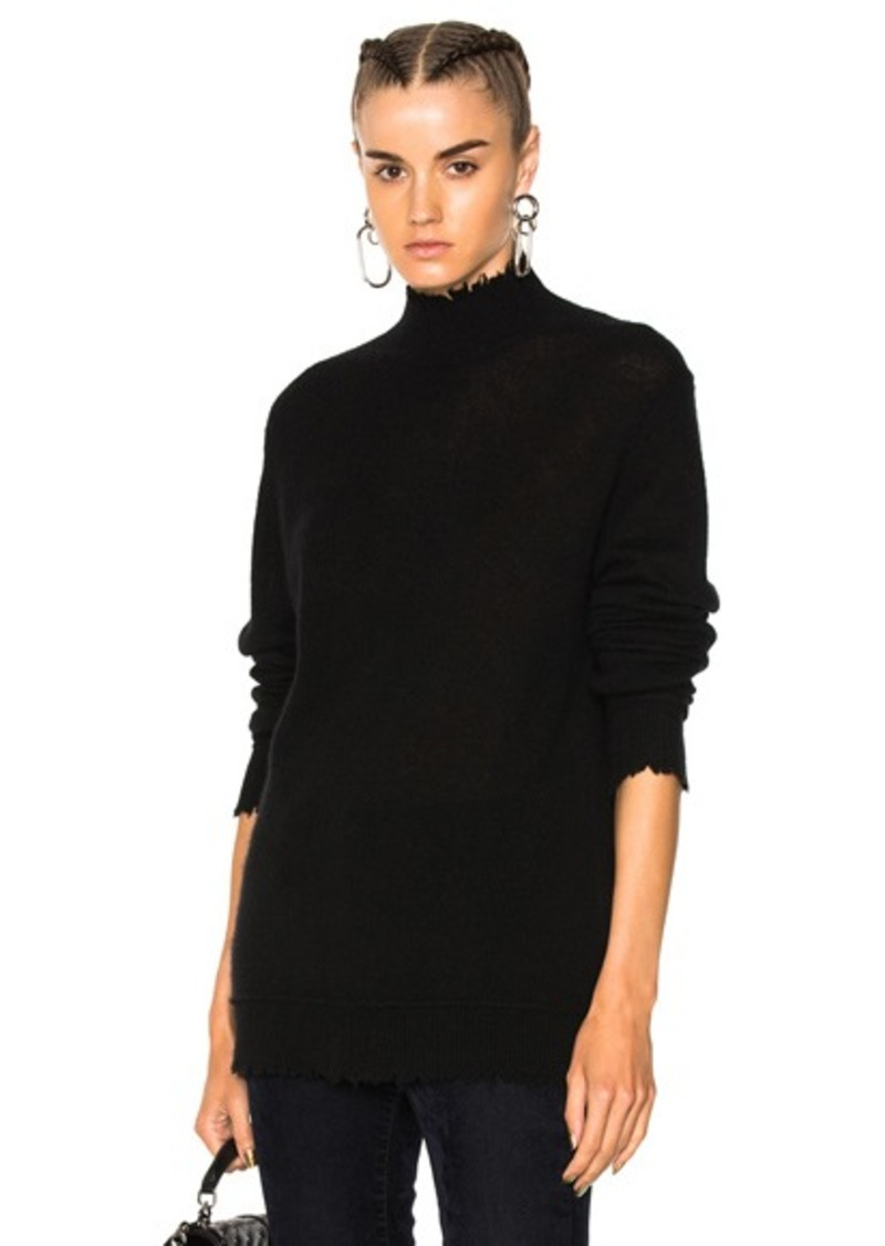 R13 Distressed Edge Cashmere Turtleneck Sweater