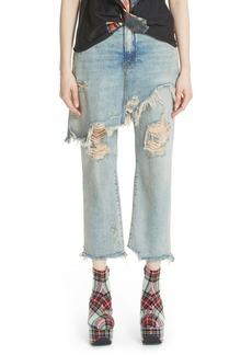 R13 Double Classic Ripped Crop Jeans (Leyton Blue)