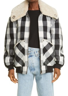 R13 Exaggerated Genuine Shearling Collar Bomber Jacket