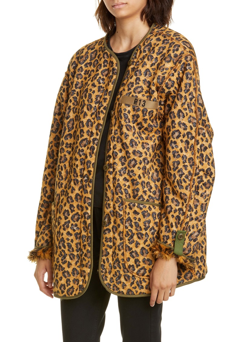 R13 Faux Fur Lined Leopard Print Military Liner Jacket