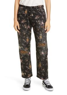 R13 Floral Print Straight Leg Jeans