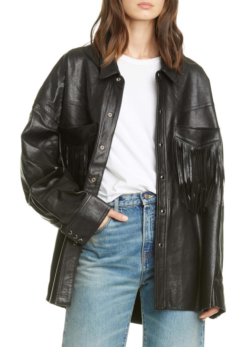 R13 Fringe Pocket Leather Shirt Jacket