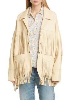 R13 Fringe Trim Leather Jacket