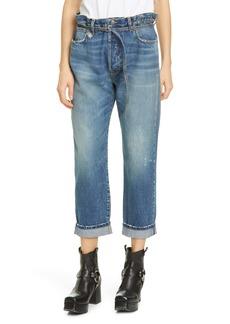 R13 Hayden Paperbag Waist Crop Straight Leg Jeans (Kelly)