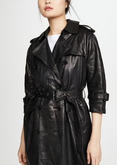 R13 Leather 3/4 Sleeve Trench