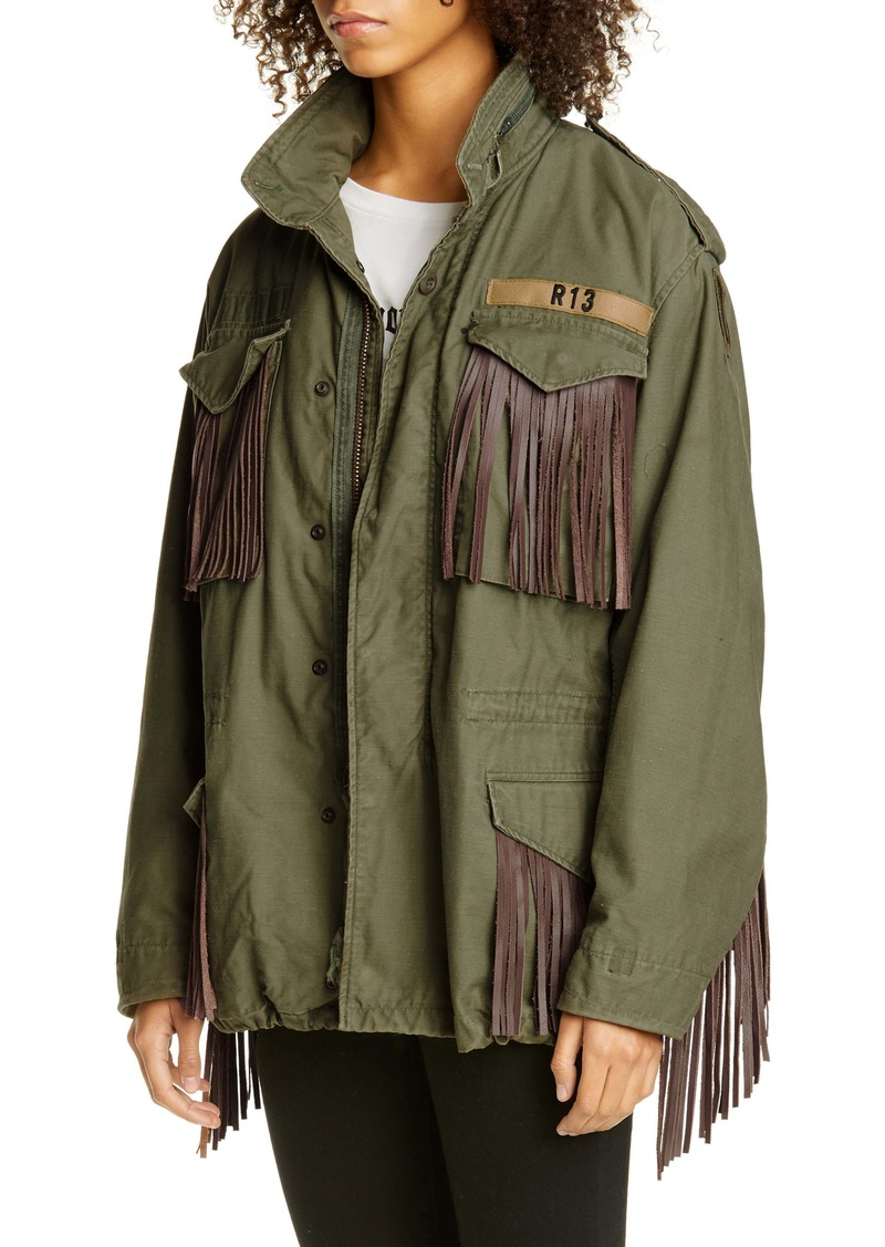R13 Leather Fringe Repurposed M65 Jacket