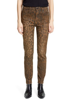 R13 Leopard Print Distressed High Waist Skinny Jeans