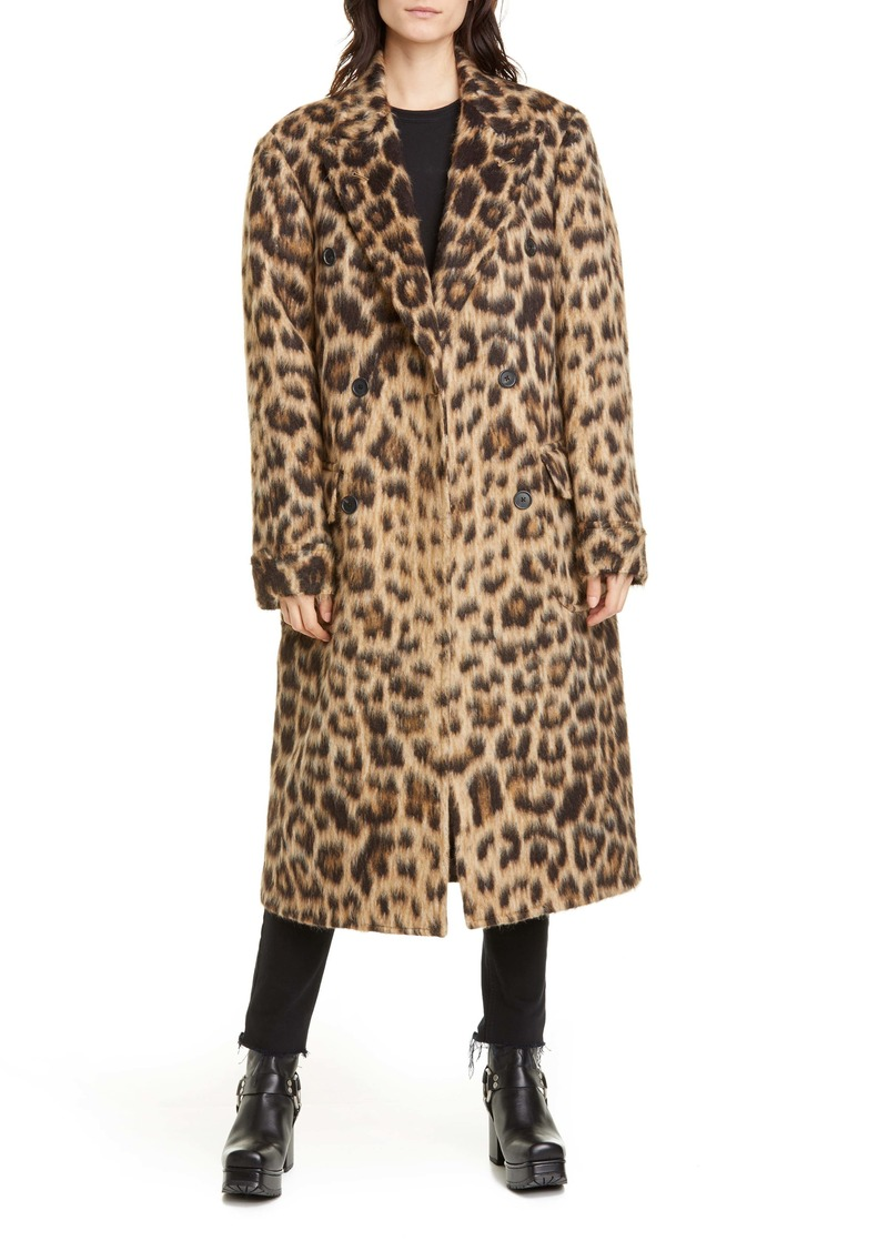 R13 Leopard Print Wool & Alpaca Double Breasted Coat