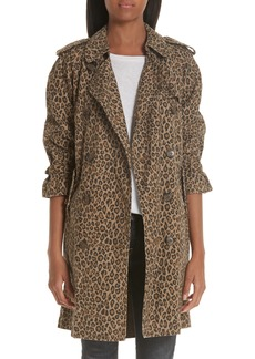 R13 Leopard Raglan Trench Coat