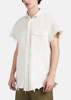"R13 Men's ""Dirty""-Wash Denim Short-Sleeve Oversized Shirt"