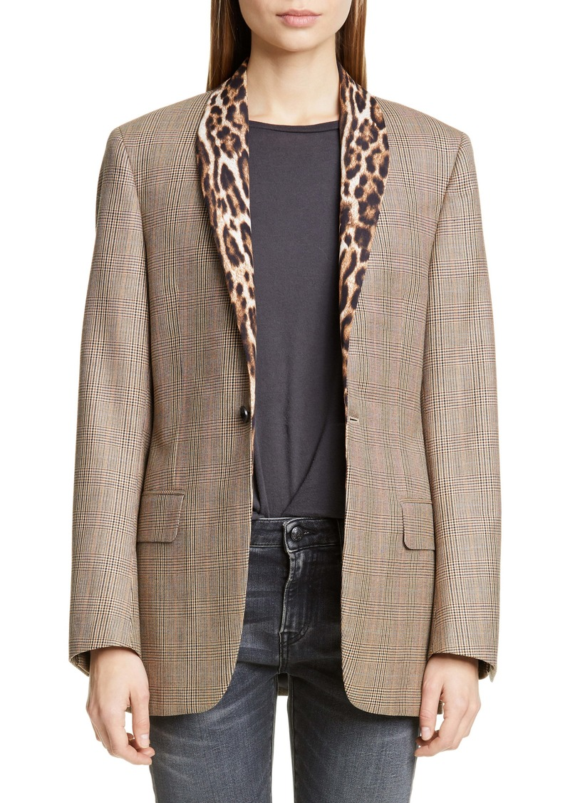 R13 Mixed Print Shawl Collar Jacket
