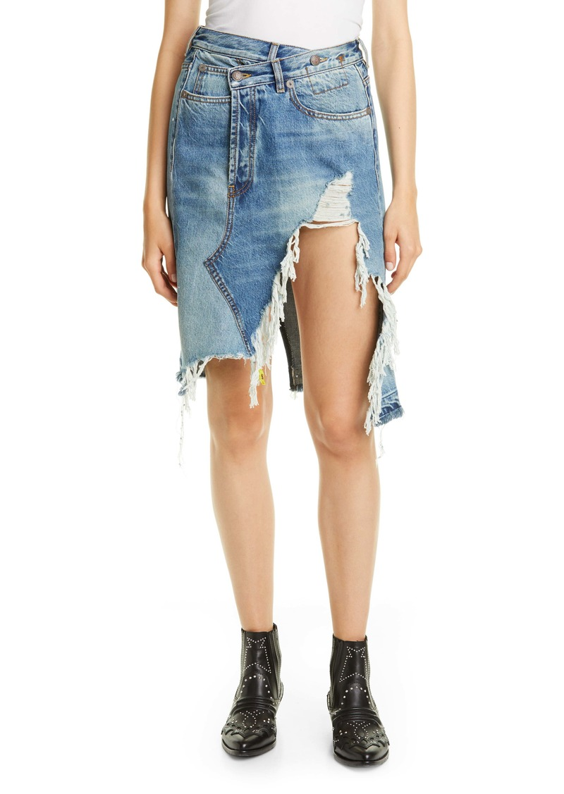 R13 Norbury Ripped Crossover Denim Skirt