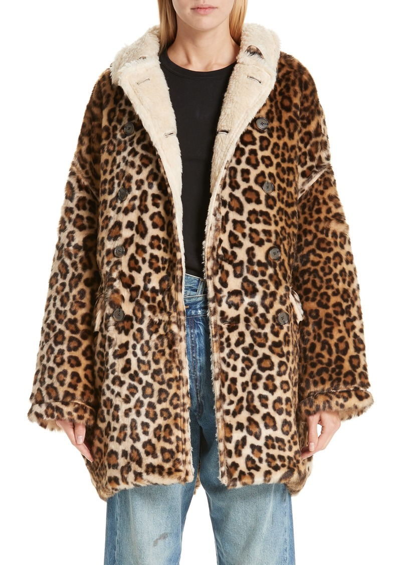 R13 Oversize Faux Leopard Hunting Coat