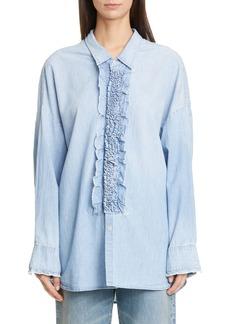 R13 Oversized Denim Tuxedo Shirt