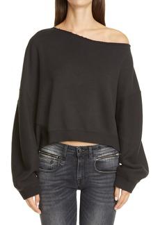 R13 Patti Wide Neck Crop Sweatshirt