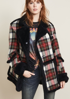R13 Plaid Coat with Shearling Trim