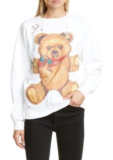 R13 Punk Teddy Bear Distressed Sweatshirt
