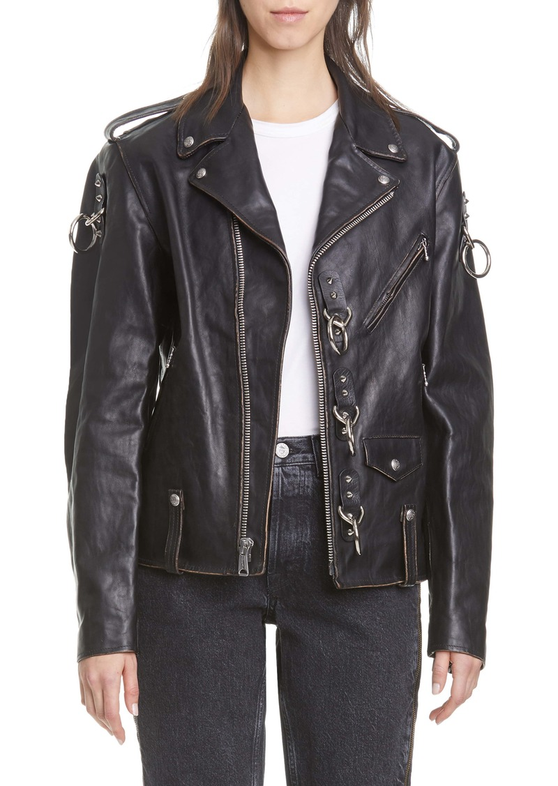 R13 Ring Detail Refurbished Leather Moto Jacket