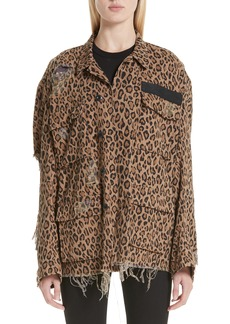 R13 Shredded Leopard Print Jacket