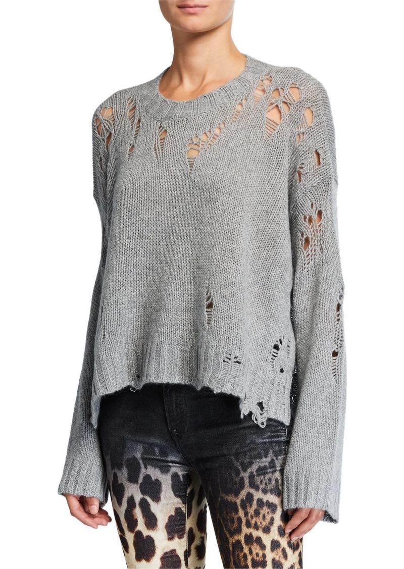 R13 Shredded Side-Slit Cashmere Sweater