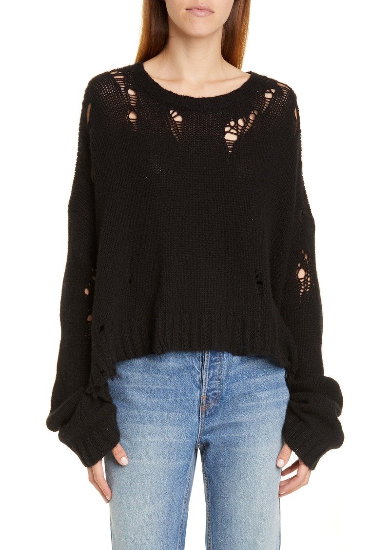 R13 Shredded Side Slit Wool Sweater