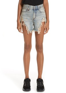 R13 Shredded Slouch Denim Shorts (Leyton Black)