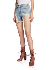 R13 Shredded Slouch Distressed Denim Shorts