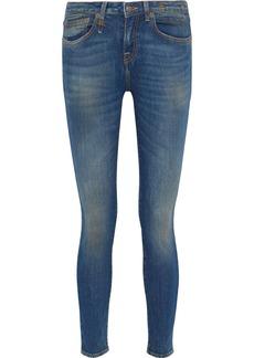 R13 Woman Alison Distressed Low-rise Skinny Jeans Mid Denim