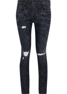 R13 Woman Callen Distressed Snake-print Low-rise Skinny Jeans Black