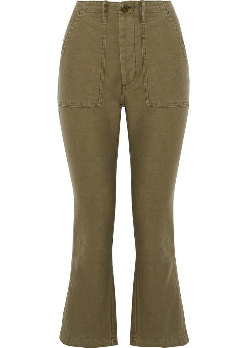 R13 Woman Cotton-twill Kick-flare Pants Army Green
