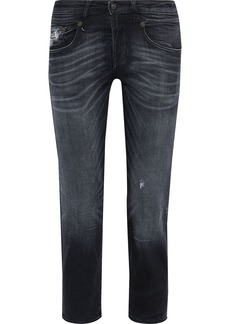 R13 Woman Cropped Distressed Low-rise Straight-leg Jeans Black