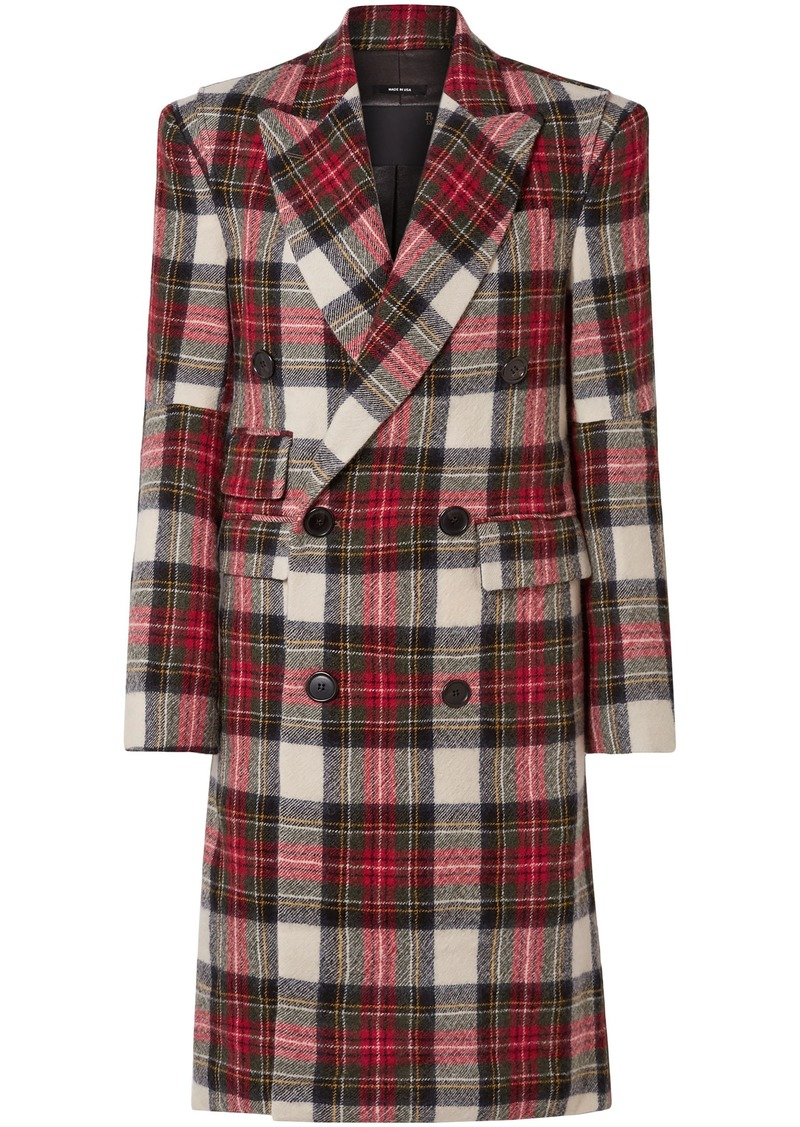 R13 Woman Double-breasted Checked Wool Coat Red