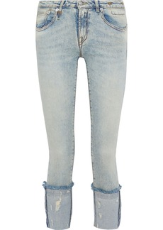 R13 Woman Kate Cropped Distressed Low-rise Skinny Jeans Light Denim