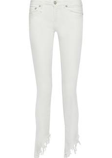 R13 Woman Kate Distressed Low-rise Skinny-leg Jeans White