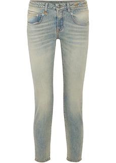 R13 Woman Leyton Low-rise Slim-leg Jeans Light Denim