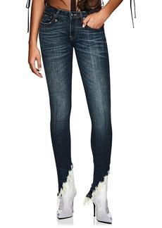 R13 Women's Kate Distressed Angled-Hem Skinny Jeans