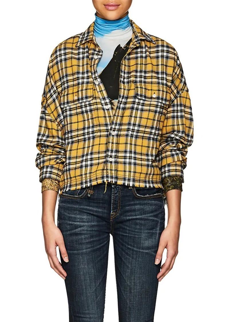 R13 Women's Plaid Cotton Crop Work Shirt