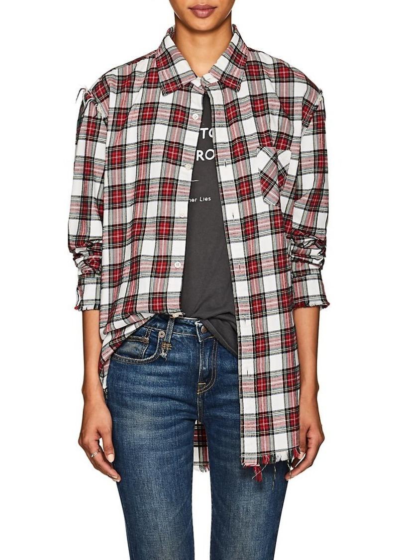 R13 Women's Plaid Shredded Cotton Flannel Shirt