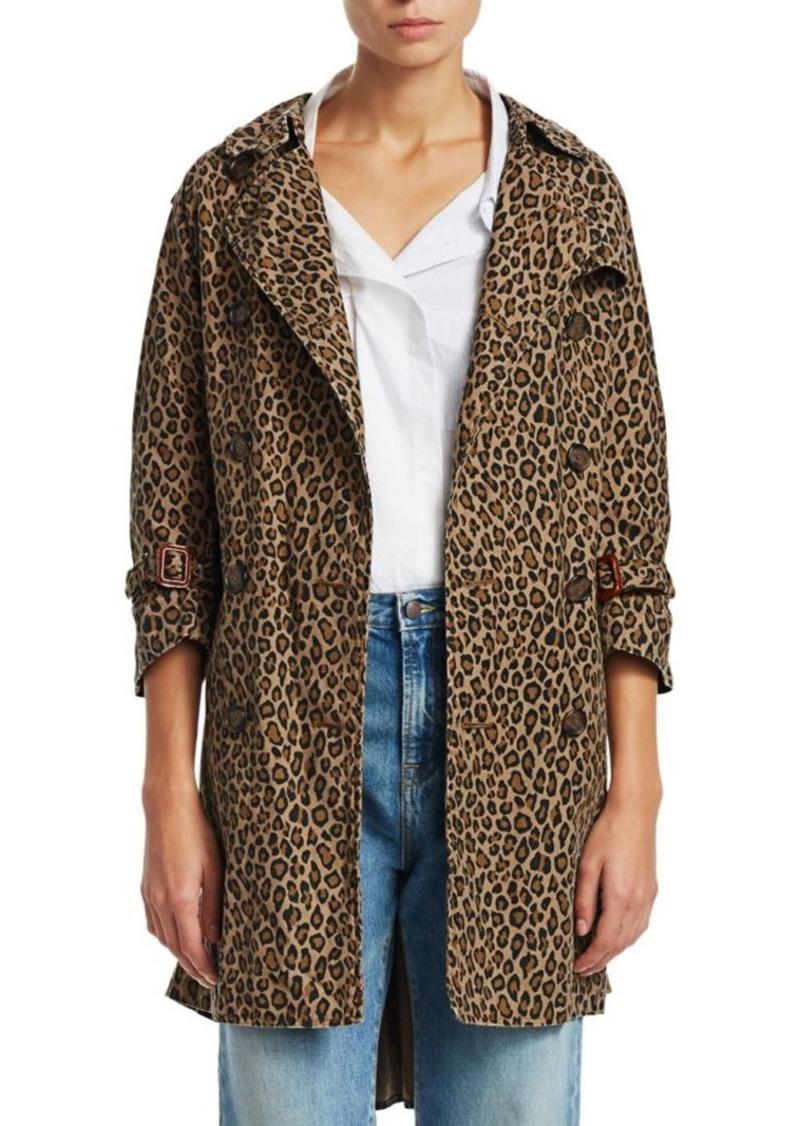 R13 Raglan Sleeve Leopard Print Trench