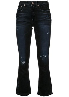R13 ripped skinny flared jeans