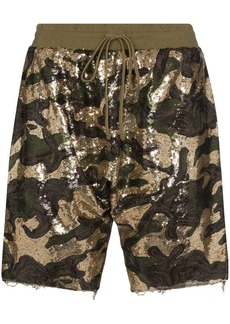 R13 sequinned cotton shorts