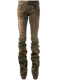 R13 Shirring Boy leopard jeans