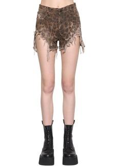 R13 Shredded Leopard Printed Slouch Shorts