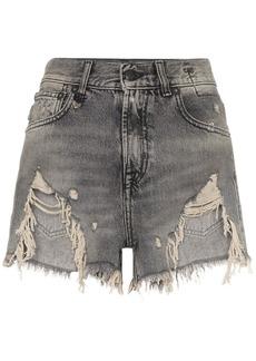 R13 shredded ripped hem denim shorts
