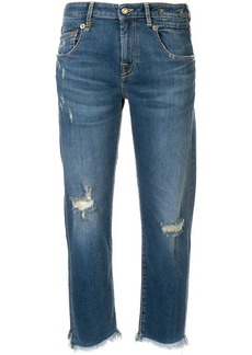 R13 straight cut distressed jeans