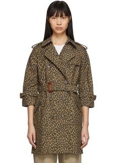 R13 Tan & Black Leopard Raglan Sleeve Trench Coat