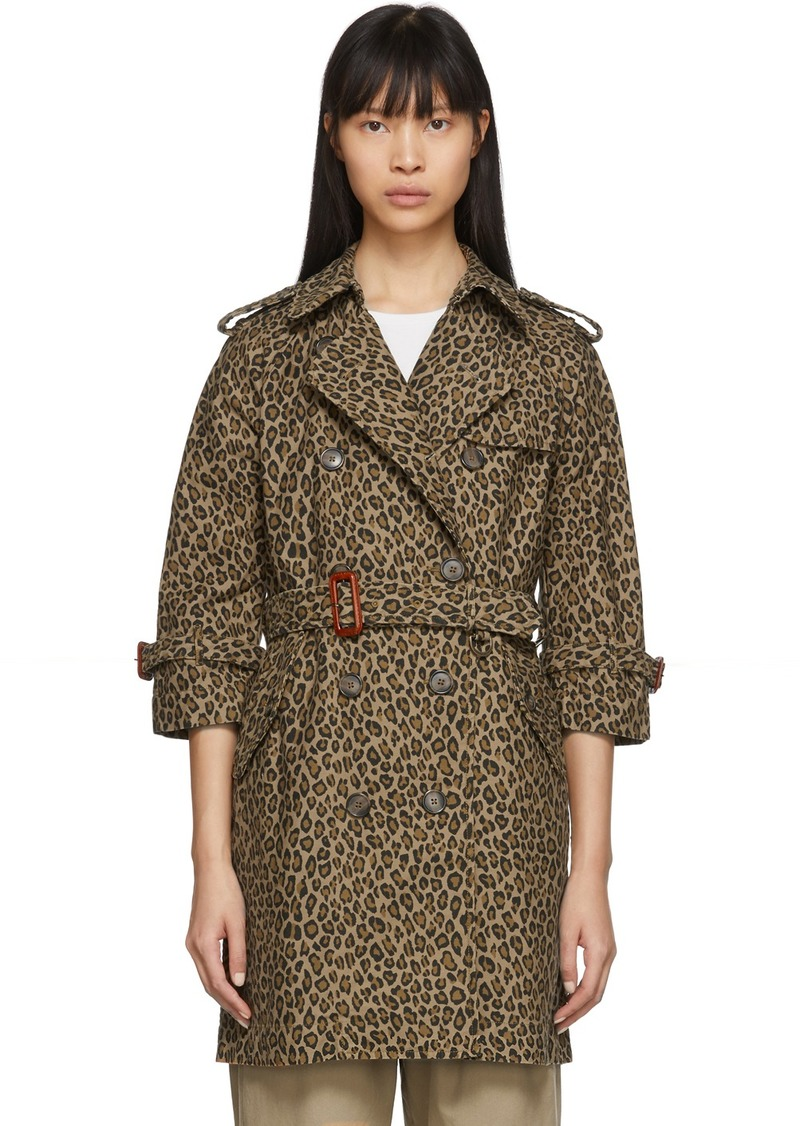 R13 Tan & Black Leopard Raglan Sleeve Trench Coat